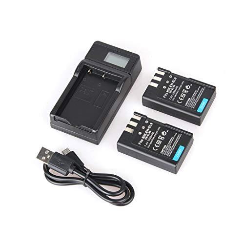 LouiseEvel215 2 Stück EN-EL9 7.4V 1200mAh Ersatz-Li-Ionen-Akku + USB-Einzelkamera-Ladegerät mit LCD-Display-Kit Nikon D5000 Dslr Kit