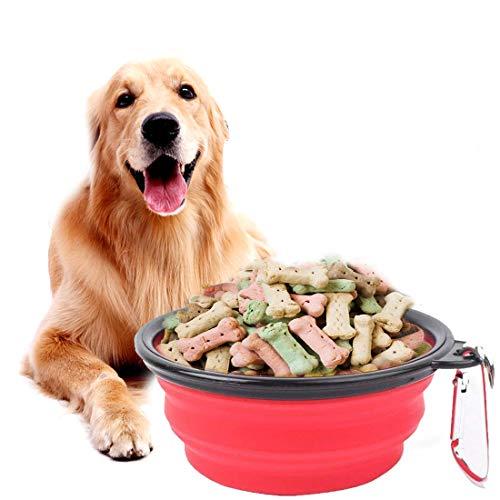 Zumeca dog cat bowl, ciotola dell'animale domestico, silicone ciotole per cani pieghevoli portatili ciotole per alimenti per animali domestici ciotola (l, rosso)