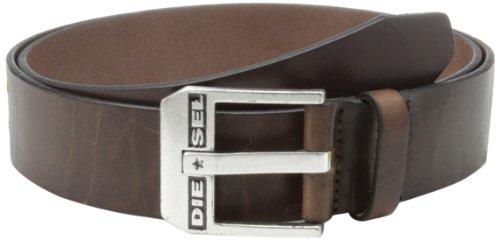 Diesel Herren Gürtel Men Belt Bluestar Ledergürtel mit Schnalle Silber - Braun: Größe: 90 cm