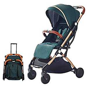 SONARIN Lightweight Stroller,Compact Travel Buggy,One Hand Foldable,Five-Point Harness,Great for Airplane(Green)   15