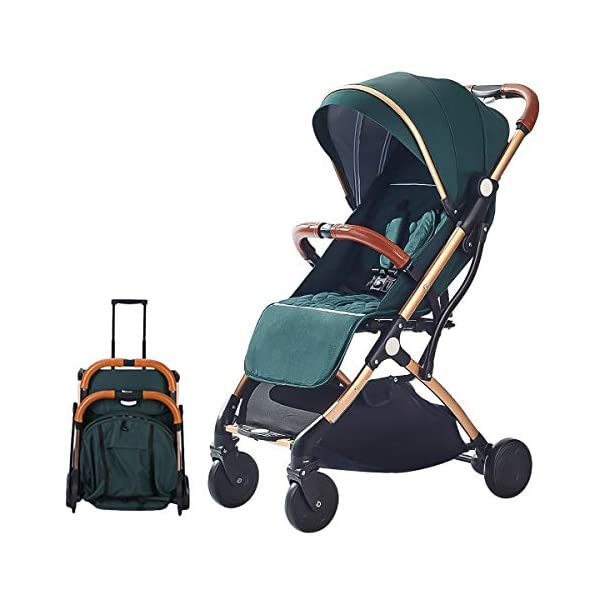 SONARIN Lightweight Stroller,Compact Travel Buggy,One Hand Foldable,Five-Point Harness,Great for Airplane(Green) SONARIN Size:Suitable from birth up to 25kg, length:66CM, width:48cm, height:98cm.Folding up:60CM*48CM*26CM. Great for Airplane,can be placed in any car boot. Safe:With sturdy aluminum alloy, compact body and five-point seat harness,each stroller has been pressure tested to provide security for each baby. Quality and Design:The backrest of the stroller supports sitting, half lying, lying,all three angles,lengthened and widened sleeping basket. Four wheel independent shock absorbing and built-in bearings make it smoother and quieter. 1