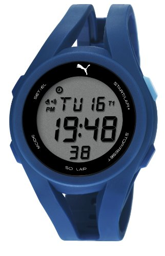 Puma Airy Unisex Digital Watch with LCD Dial Digital Display and Blue PU Strap PU911131003