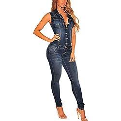 Zilcremo Les Manches Courtes Combinaisons D'ensembles De Survêtement De Loisir en Denim Jeans Barboteuses Bretelles Darkblue S