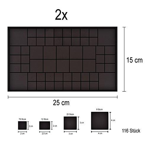 Reorda 116 Stück selbstklebende Magnet Plättchen - Individuell zuschneidbare Magnetplättchen mit optimierter Magnetstärke für Postkarten, Fotos aber auch USB Sticks etc. - 4 verschiedene Größen