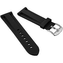 ZULUDIVER® Italian Diver Style Rubber Watch Strap, Black, Blue or Orange, 20mm, 22mm or 24mm