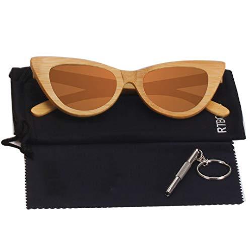 DAIYSNAFDN Cat Eye Holz Sonnenbrille Frauen Polarisierte Spiegel Brille Bambus Rahmen Handgemachte Uv400 Vintage Shades Brillen C5