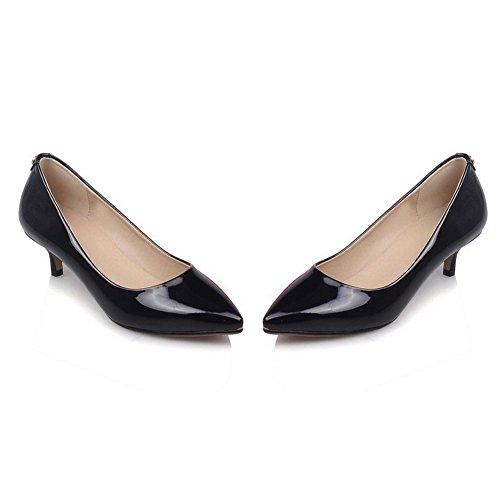 VogueZone009 Femme Verni Pointu à Talon Correct Tire Mosaïque Chaussures Légeres Noir