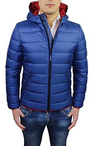 Piumino uomo Woolrich blu mod. Hooded down Jacket invernale giubbotto giacca piuma d'oca (M)