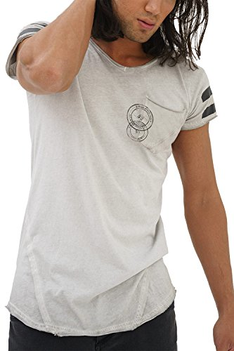 trueprodigy Casual Herren Marken T-Shirt mit Aufdruck, Oberteil Cool und Stylisch mit V-Ausschnitt (Kurzarm & Slim Fit), Shirt für Männer in Bedruckt, Größe:L, Farben:Darkgrey