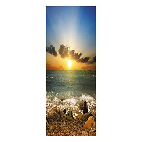 YJZ 3D Tür Wandbild Tapete Aufkleber Selbstklebende Vinyl Wasserdichte Kunst Tür Renovierung Abziehbilder Sonnenuntergang über dem Strand Muster