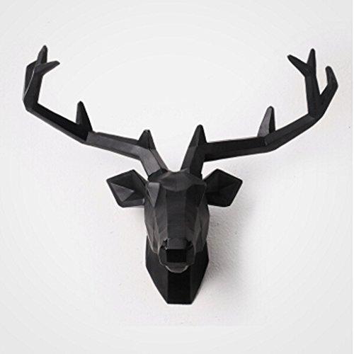 Scultura della parete appeso Creativo delle decorazioni Animal Wall dimensionale pittura decorativa Retro cervi parete Decorazioni da parete, decorazione ( colore : Nero , forma : Cervo