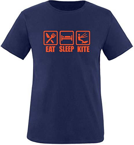 EZYshirt® Eat Sleep Kite Herren Rundhals T-Shirt Navy/Orange