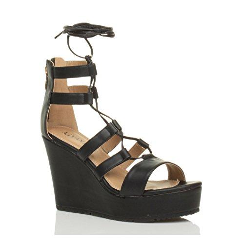 Femmes talon haut compensé lanières lacets gladiateur sandales chaussures numero Noir mat