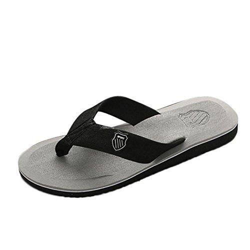 LHWY Herren Slipper, Männer Sommer Flip-Flops Hausschuhe Strand Sandalen Mode Outdoor Freizeitschuhe Grau