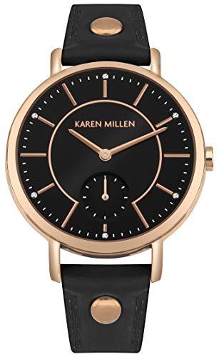 Karen Millen Reloj Analógico para Unisex Adultos de Cuarzo con Correa en Cuero KM159B