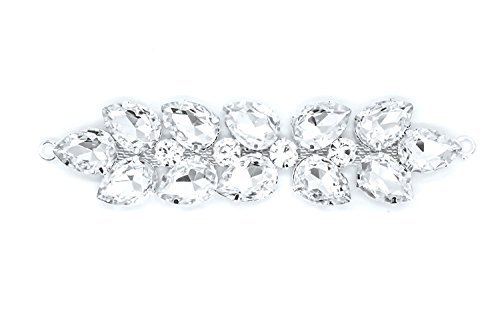 Strassstein Motiv Strass Kristalle Zum aufnähen Applikation Flicken - Perfekt für Hochzeit Braut Kleid, Freizeit oder Formelle Bekleidung Mode-accessoires 120mm x 30mm (ca.) Patch Nr. A127
