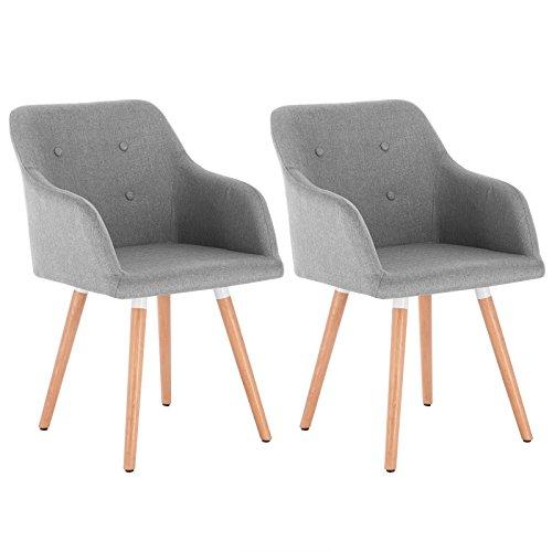 Woltu bh88hgr-2 coppia sedie da pranzo poltroncina per soggiorno sala d'attesa cucina ristorante sgabello poltrona con schienale braccioli tessuto di lino gambe di faggio moderno grigio chiaro 2 pezzi