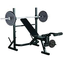 HOMCOM Banco de Pesas Entrenamiento de Musculación Fitness con Respaldo Regulable 175x98x30cm Color Negro