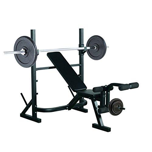 Homcom Banco de Pesas Entrenamiento de Musculación Fitness con Respaldo Regulable 175x98x30cm Color...