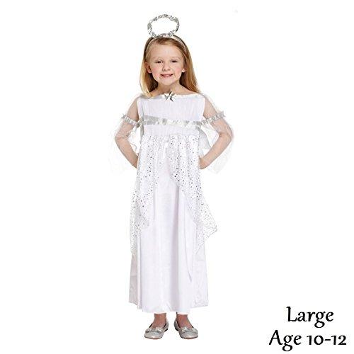Kinder Kostüm Weihnachten Engel Flügel & Halo, groß, Alter 10-12 (Halo-kostüm Kinder Für)