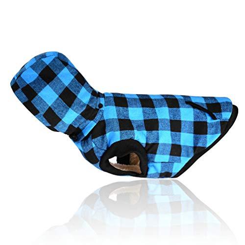 Sforza Haustier Hund Kostüm Plaid Weste, Klassische Warme Winddichte Kälte Hund Mantel Mit Hut Für Mittelgroße Hund Blau-L (Minion Lila Hund Kostüm)