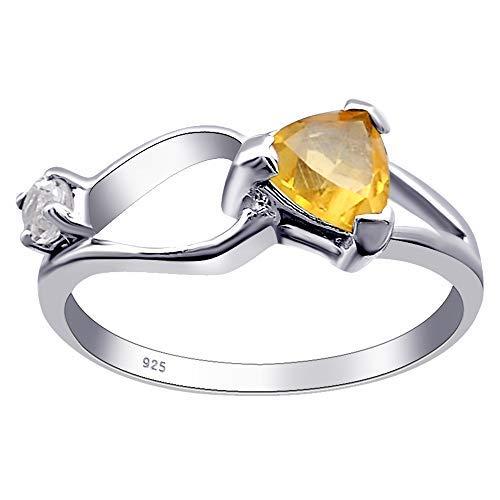 Orchid Jewelry Unisex Damen - Sterling-Silber 925 Sterling-Silber 925 Triangelschliff Rund White Yellow Citrin, weißer Topas