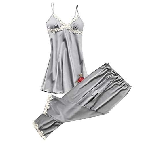 Amphia - Damen Pyjamas + Pyjamahosen - Zweiteiliges Set - Frauen Sexy Dessous Nachtwäsche Unterwäsche Babydoll Nachtwäsche Kleid 2PC ()