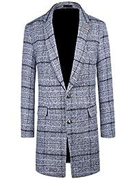 Allthemen Manteau Homme Style Long Hiver Chaud Parka en Carreaux Trench  Coat Coupe-Vent en 6c17782cc26c