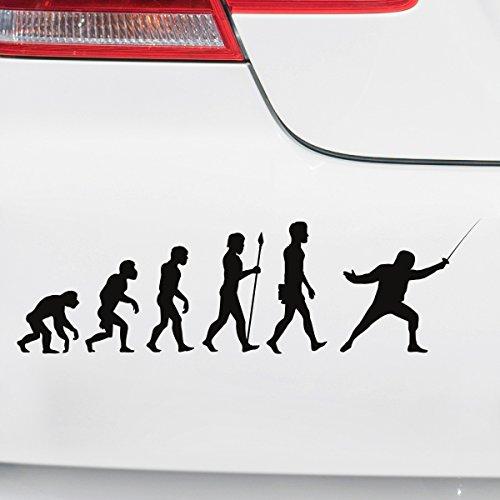 Motoking Autoaufkleber - Lustige Sprüche & Motive für Ihr Auto - Evolution Fechten - 25 x 7,3 cm - Hellorange Seidenmatt