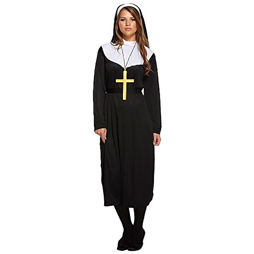 Nun Fancy Dress Kostüm (Schwarz) - One size