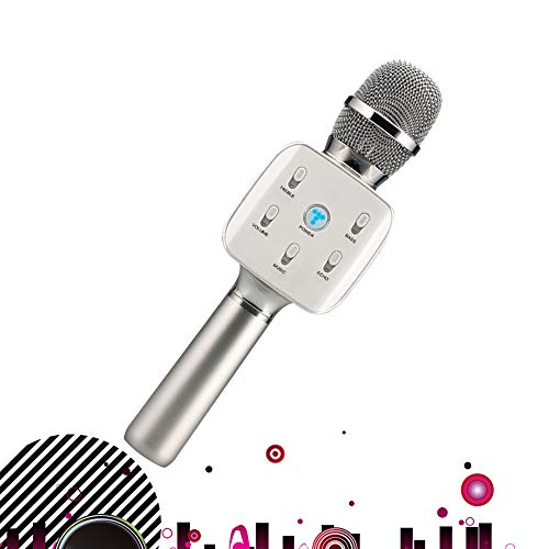 SHENGY Reunión de la Familia Reproductor de Canto, Mezclador Profesional Condensador mágico Mic Partido micrófono inalámbrico Bluetooth Adecuado para Android, iOS, PC,Silver