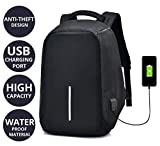 #8: Andride Anti Theft Travel Waterproof Backpack/Compact Laptop Bag (14.1 inch)/School and Collage Bag with USB Charging Port - (Black)