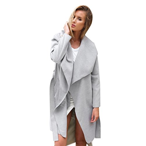 Preisvergleich Produktbild BBring Damen Lang Mantel Trenchcoat mit Gürtel Winter Jacke Trench Windbreaker Parka Outwear (S,  Grau)