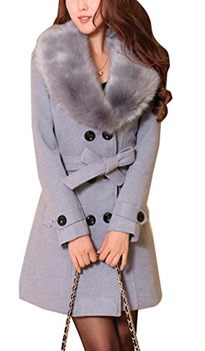 Wolle Mäntel Frauen Für Winter (Foluton Damen Wintermantel Wollmantel Mit Faux Pelz Kragen Parka Herbstjacke Elegant Zweireihiger Trenchcoat Lang Mantel Übergangsjacke Dufflecoat Outwear Mit Gürtel)