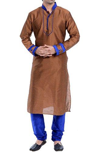 Vastramay Men's Brown Cotton Silk Kurta & Pyjama Set ( Size: 42)