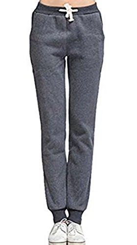 Damen Sweatpants Sweathose mit Bündchen Herbst Winter Warm Fleece gefüttert Sporthose Elastische Tunnelzug Freizeithose Haremhose Pluderhose Jogginghose (Jersey Elastische Taille Knit Pants)