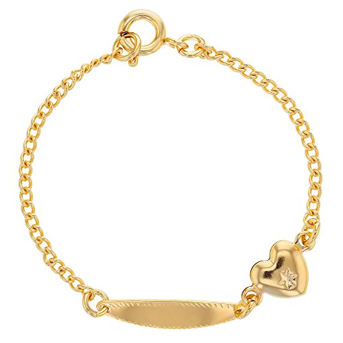 Baby-Armband mit Namensgravur, 18kt vergoldet, mit Herz