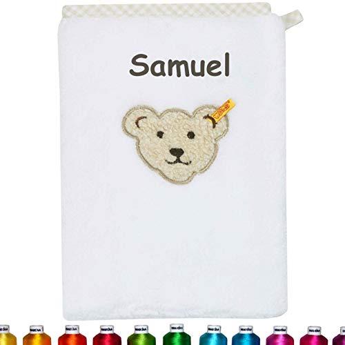 Steiff Kinder & Baby Waschlappen bestickt mit Namen, Frottee Waschhandschuh personalisiert zur Geburt, Taufe oder als Geschenk zum Geburtstag, Mädchen & Junge, Weiß, Bright White