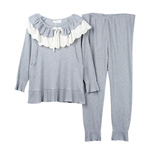3c6604f5a4b59 Vêtements de Nuit Pyjamas Femmes Enceintes Coton Manches Longues Chemise de  Nuit Gris Dentelle O-