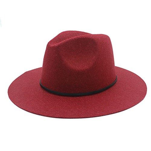 HUILIAN HATS Chapeau à la Mode, Chanvre Laine Large Bord Hiver Automne Floppy Feutre Trilby Fedora Chapeau pour Élégant Womem Hommes Haut Cloche Panam