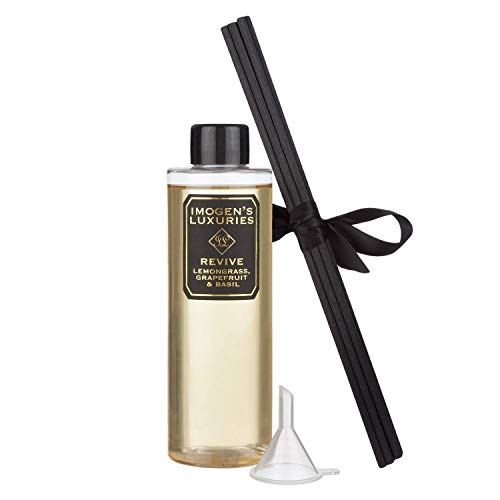 Revive Reed Diffuser Refill - Large 200ml - with Natural Lemongrass, Grapefruit & Basil Essential Oils - 6 Thick black reeds and Funnel - Alcohol free - Vegan Friendly