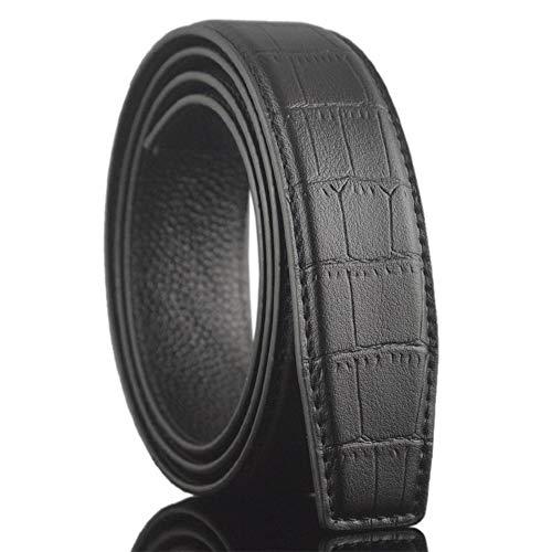 Ogquaton Patrón de cocodrilo Cinturón de cuero Cinturón de cuero de los hombres Cinturón de moda Cinturón de cuero de negocios Accesorios de ropa Negro 1 piezas