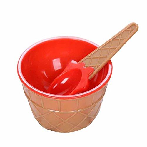 smileq Kinder Eis Schalen Löffel Set LOVELY Dessert Cup Geschenke rot (Ess-set Honig)