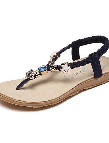 LFNLYX Chaussures Femme-Extérieure / Décontracté-Noir / Rouge / Beige-Talon Plat-Salomé / Tongs / Bout Arrondi-Sandales-Similicuir Black