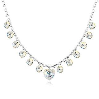 Daesar Schmuck Damenkette Vergoldet Herz Runde Halskette Zirkonia Strass Anhänger Halskette für Frauen