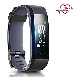 Chianruey Fitness Armband mit Pulsuhr, Fitness Tracker mit Schlafüberwachung (Schwarze/Asche)
