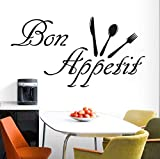 Qbbes Eating Food Tools Wall Sticker Waterproof Art Vinyl Decals Restaurant Kitchen Dining Room Wall Decor 59X31Cm