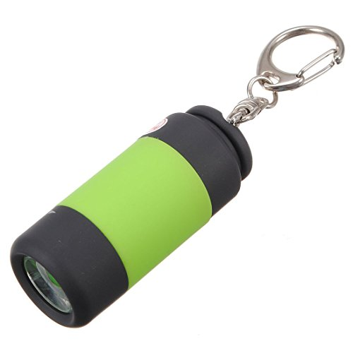 SODIAL(R) Mini LED lampe de poche rechargeable de USB lampe de poche a main de USB Porte-cles 2 pieces par un paquet