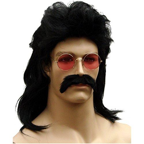 Spassprofi Vokuhila Schwarz Perücke mit Bart + roter 70er Jahre Hippie Brille