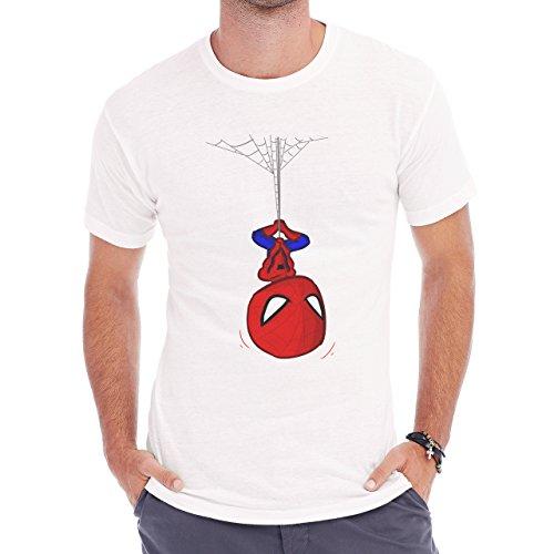 Spiderman Peter Parker Super Heroe Kid Hanging Herren T-Shirt Weiß